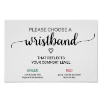 Simple Black Calligraphy Wedding Wristband Sign