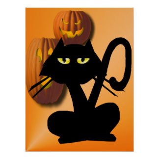 Simple Black Cat On Halloween Poster