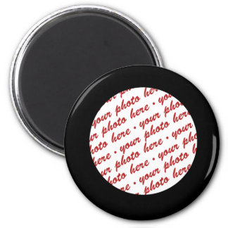 Simple Black  Circle Photo Frame Template 2 Inch Round Magnet