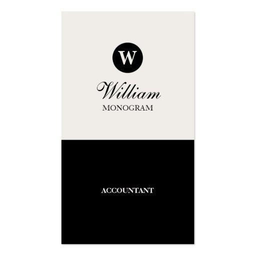 Simple Black & Cream Monogram Business Cards