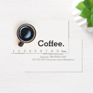 Simple Black Cup Loyalty Coffee Punch-Card Business Card