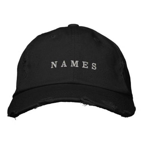 Simple Black Custom Add Your Name Elegant Embroidered Baseball Cap