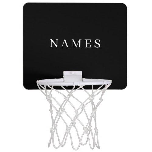Simple Black Custom Add Your Name Elegant Mini Basketball Hoop