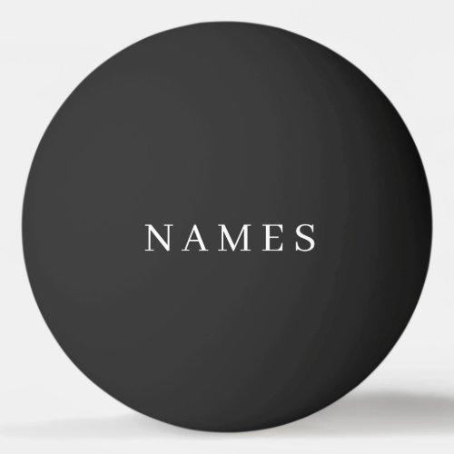 Simple Black Custom Add Your Name Elegant Ping Pong Ball