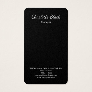 Simple Black Elegant Script Minimalist Modern Business Card