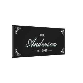Simple Black Family Established Family Name Sign Canvas Print