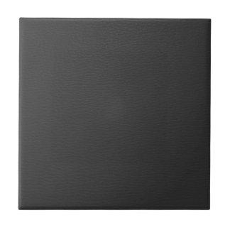 Simple Black Faux Leather Look Monogram Ceramic Tile