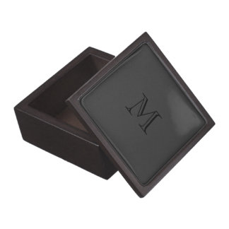 Simple Black Faux Leather Look Monogram Gift Box