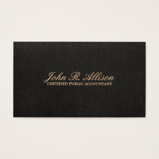 Simple Black Faux Linen Accountant Business Card