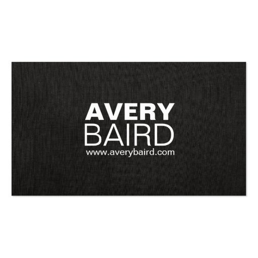 Simple Black Faux Linen Professional Double-Sided Standard Business Cards (Pack Of 100)