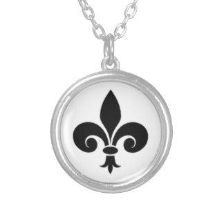 Simple Black Fleur De Lis Symbol Round Pendant Necklace