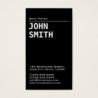 Simple Black Game Testing Business Card
