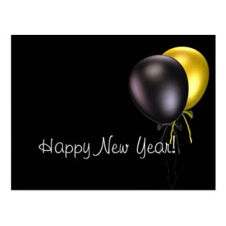 Simple Black/Gold Balloons Happy New Year Postcard