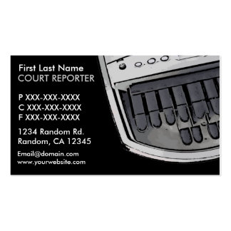 Simple black gray court reporter business cards