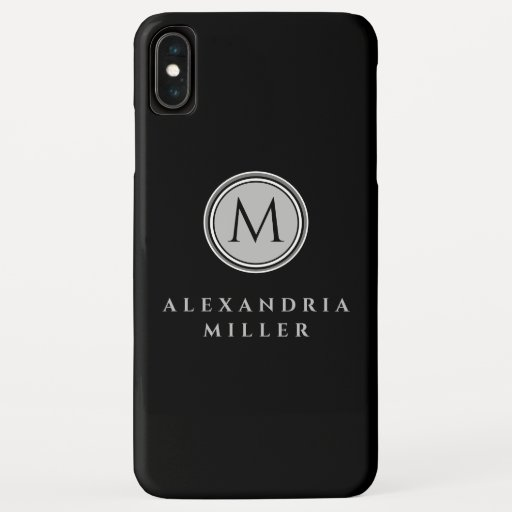 Simple Black & Gray Monogram Medallion iPhone XS Max Case
