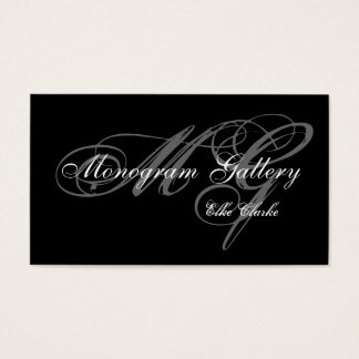 Simple Black Grey Monogram Wedding Business Business Card