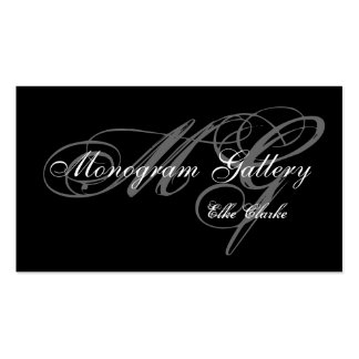 Simple Black Grey Monogram Wedding Business Double-Sided Standard Business Cards (Pack Of 100)