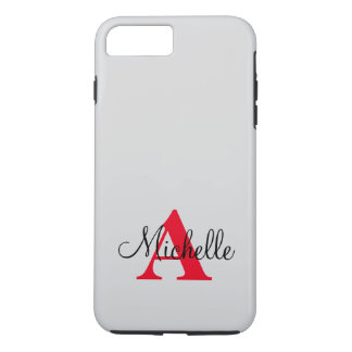 Simple Black Grey Red Your Monogram Personalized iPhone 7 Plus Case