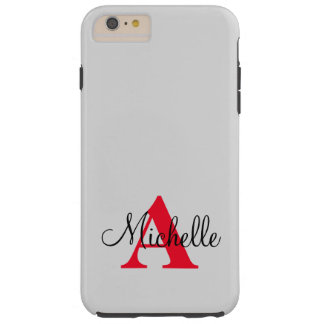 Simple Black Grey Red Your Monogram Personalized Tough iPhone 6 Plus Case