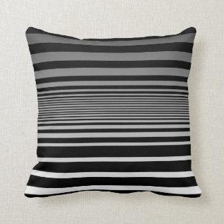 Simple Black Grey White Gradient Stripes Throw Pillow