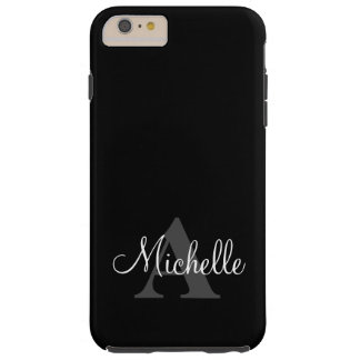 Simple Black Grey Your Monogram Personalized Tough iPhone 6 Plus Case