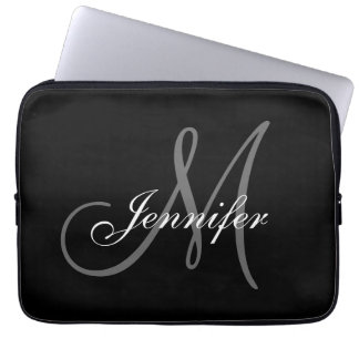 SIMPLE, BLACK, GREY YOUR MONOGRAM YOUR NAME COMPUTER SLEEVE