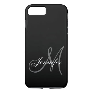 SIMPLE, BLACK, GREY YOUR MONOGRAM YOUR NAME iPhone 7 PLUS CASE