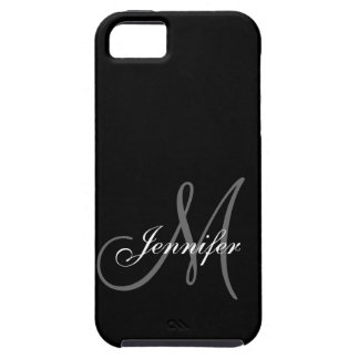 SIMPLE, BLACK, GREY YOUR MONOGRAM YOUR NAME iPhone SE/5/5s CASE