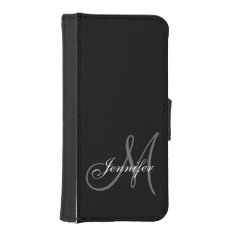Simple, Black, Grey Your Monogram Your Name Iphone Se/5/5s Wallet at Zazzle