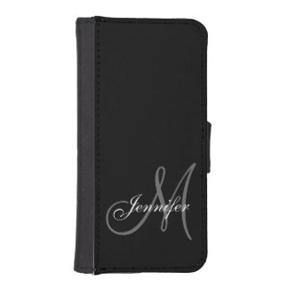 SIMPLE, BLACK, GREY YOUR MONOGRAM YOUR NAME iPhone SE/5/5s WALLET