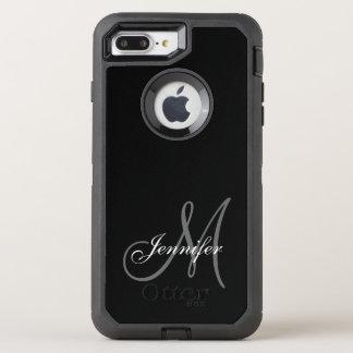 SIMPLE BLACK, GREY, YOUR MONOGRAM, YOUR NAME OtterBox DEFENDER iPhone 7 PLUS CASE