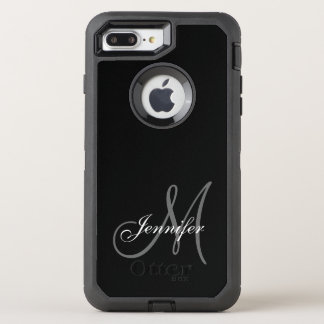 SIMPLE BLACK, GREY, YOUR MONOGRAM, YOUR NAME OtterBox DEFENDER iPhone 8 PLUS/7 PLUS CASE