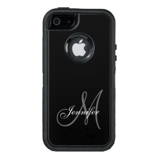SIMPLE BLACK, GREY, YOUR MONOGRAM, YOUR NAME OtterBox DEFENDER iPhone CASE