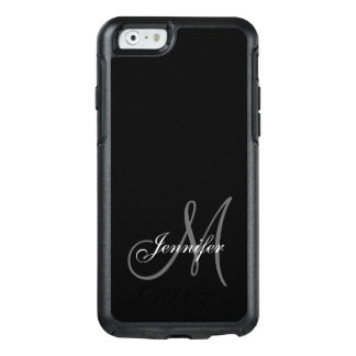 SIMPLE BLACK, GREY, YOUR MONOGRAM, YOUR NAME OtterBox iPhone 6/6S CASE