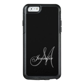 Simple Black  Grey  Your Monogram  Your Name Otterbox Iphone 6/6s Case by monogramgallery at Zazzle