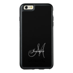 SIMPLE BLACK, GREY, YOUR MONOGRAM, YOUR NAME OtterBox iPhone 6/6S PLUS CASE
