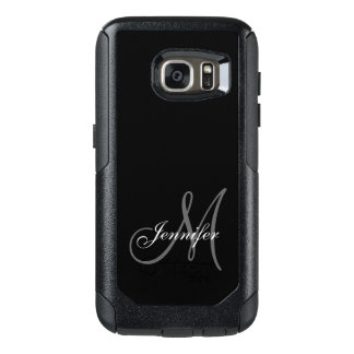 SIMPLE BLACK, GREY, YOUR MONOGRAM, YOUR NAME OtterBox SAMSUNG GALAXY S7 CASE