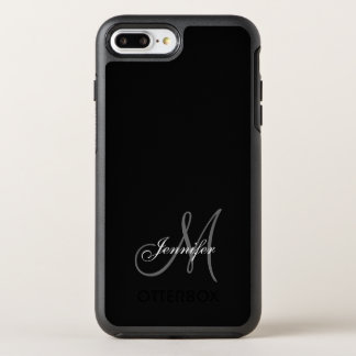 SIMPLE BLACK, GREY, YOUR MONOGRAM, YOUR NAME OtterBox SYMMETRY iPhone 7 PLUS CASE