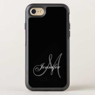 SIMPLE BLACK, GREY, YOUR MONOGRAM, YOUR NAME OtterBox SYMMETRY iPhone 8/7 CASE
