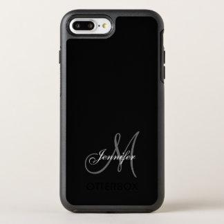 SIMPLE BLACK, GREY, YOUR MONOGRAM, YOUR NAME OtterBox SYMMETRY iPhone 8 PLUS/7 PLUS CASE