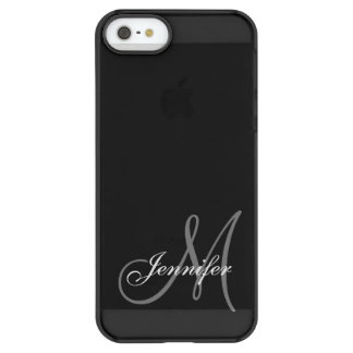 SIMPLE, BLACK, GREY YOUR MONOGRAM YOUR NAME PERMAFROST iPhone SE/5/5s CASE