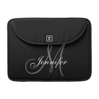 SIMPLE, BLACK, GREY YOUR MONOGRAM YOUR NAME SLEEVE FOR MacBook PRO