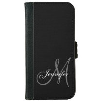SIMPLE, BLACK, GREY YOUR MONOGRAM YOUR NAME WALLET PHONE CASE FOR iPhone 6/6S