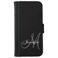 Simple, Black, Grey Your Monogram Your Name Wallet Phone Case For Iphone 6/6s at Zazzle