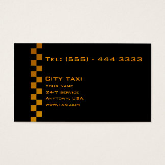 Simple Black In Gold Letters Taxi Service Card