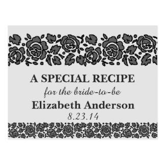 Simple Black Lace Recipe Cards