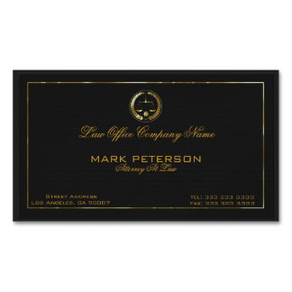 Simple Black Linen Texture Attorney In Law Magnetic Business Cards (Pack Of 25)
