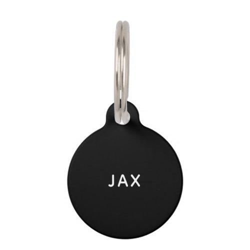 Simple black minimalist custom name dog pet ID tag