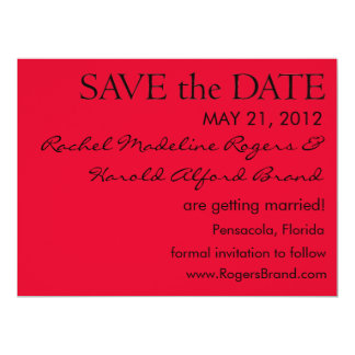 Simple Black on Red Save the Date Card