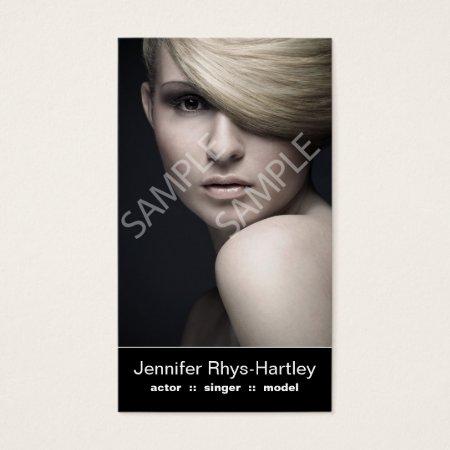 Simple Black Panel Double Headshot Photo Business Card Template